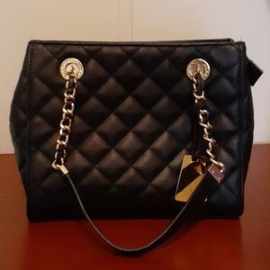 Black & Gold Quilted Aldo Handbag